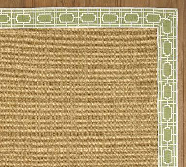Brown And Green Grid Jacquard Border Sisal Rug