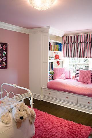 Pink Window Seat Transitional Nursery Brown Design