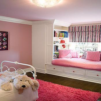 Pink Window Seat, Transitional, nursery, Brown Design
