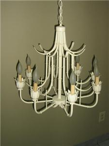 Vintage hollywood regency white bamboo pagoda chandelier aloadofball Image collections