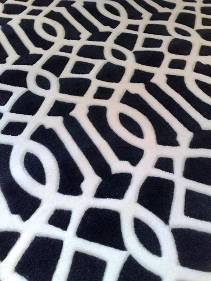 Famous Black and White Luxurious Trellis Pattern Rug KU75