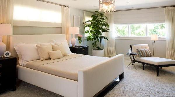 Bed Under Window Transitional Bedroom Brown Design