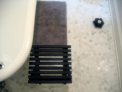 Carrera Marble Hex Tiles, Transitional, bathroom, Door Sixteen