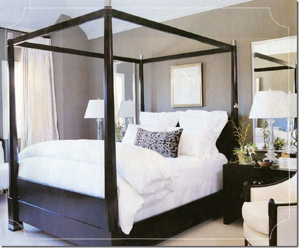 Perfect Chic Black U0026 Taupe Bedroom Love The Black Wood Canopy Bed With Crisp White  Bedding! The Black Wood Nightstands Are Perfect In This Space!