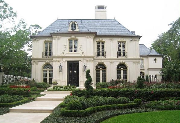 French chateau french home exterior robert dame designs for Chateau house plans
