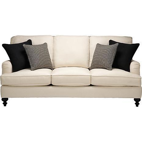 Black Wood Cream Padded Sofa