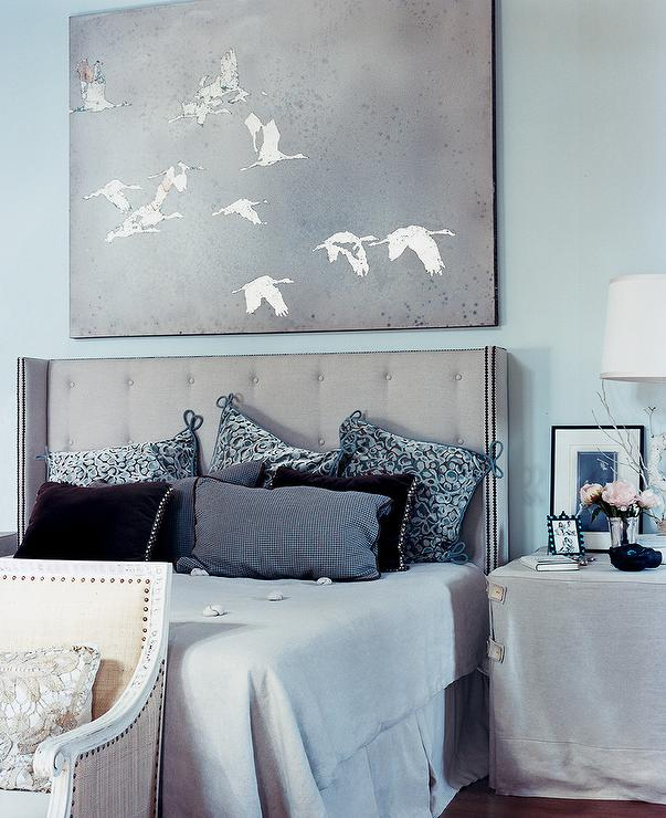 Blue and Gray Bedroom - Transitional - bedroom - Benjamin Moore Birds ...