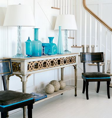 Beachy Coastal Turquoise Blue U0026 Black Foyer Design With Beautiful Wood Console  Table With Tinted Blue Beachy Glass Lamps.