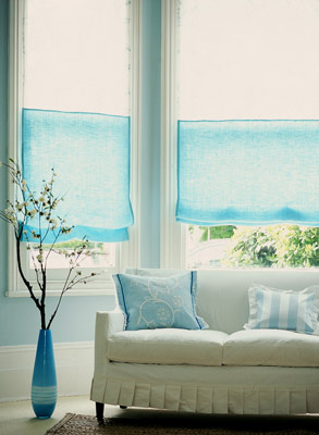Turquoise Roman Shades Transitional Living Room