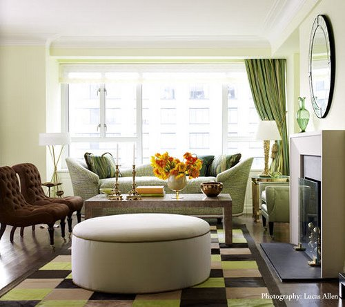 I Love The Large Round Nail Head Trim Cream Linen Ottoman Velvet Green Drapes Chocolate Brown Tufted Chairs And Graphic Rug Living Room