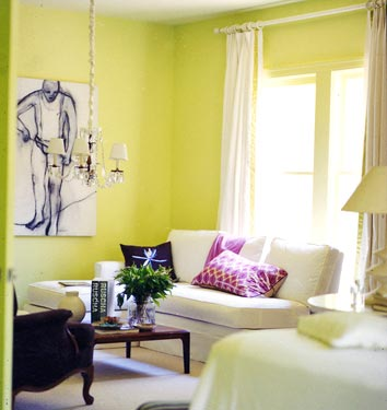 Yellow green paint color s contemporary living room Yellow green living room