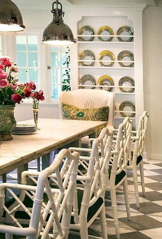 White Faux Bamboo Chairs, Rustic White Washed Dining Table, Industrial Yoke  Pendants, Beanboard And White U0026 Black Diamond Floors.