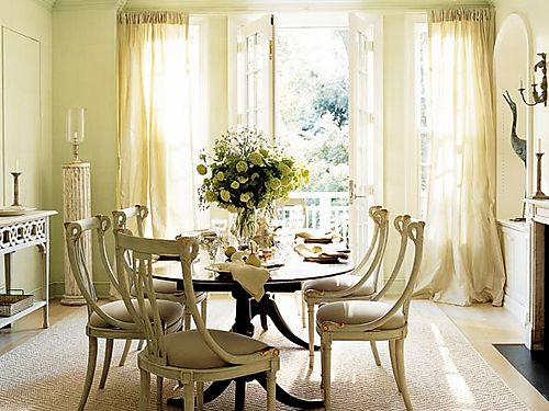 French Dining Room Elegant Country Space Oval Table Chairs Buttery Silk Drapes And Fireplace Yellow Cream White