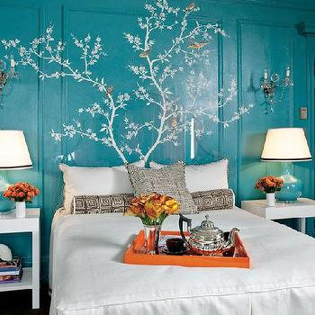 Chinoiserie Stencil, Asian, bedroom, Kendall Wilkinson Design