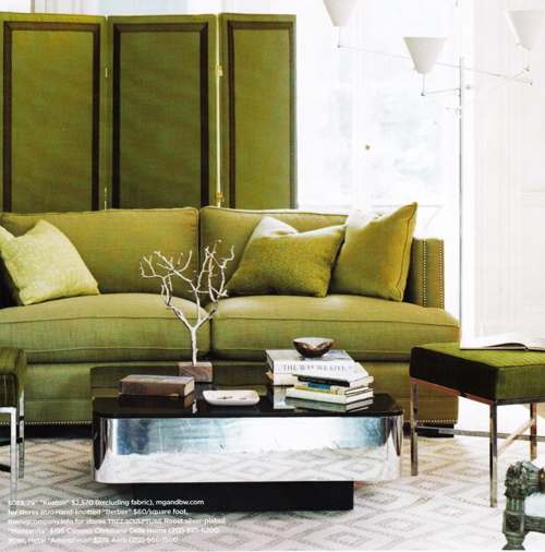 green living room design green sofa and green folding screen green