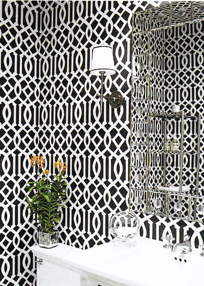 Monique Lhuillier - Trellis it up, biatches! white & black modern powder room design with black & white imperial trellis wallpaper with modern sconces, ...