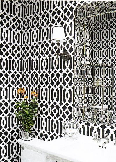 Monique Lhuillier   Trellis It Up, Biatches! White U0026 Black Modern Powder  Room Design With Black U0026 White Imperial Trellis Wallpaper With Modern  Sconces, ...