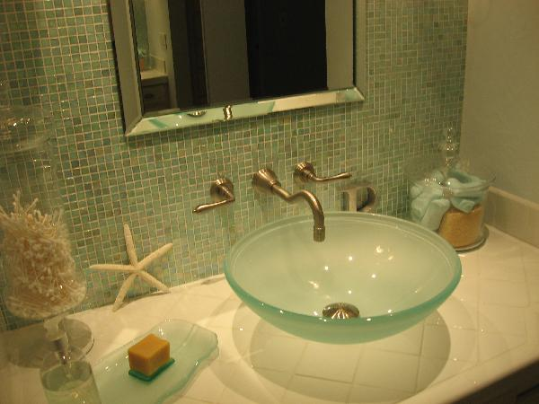 Frosted glass sink cottage bathroom hgtv for Sea glass bathroom ideas