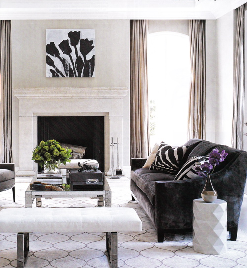Dark brown velvet sofa transitional living room elle - Black brown and white living room ...
