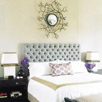 Velvet Tufted Headboard, Contemporary, bedroom