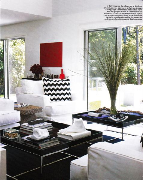 red black and white living room