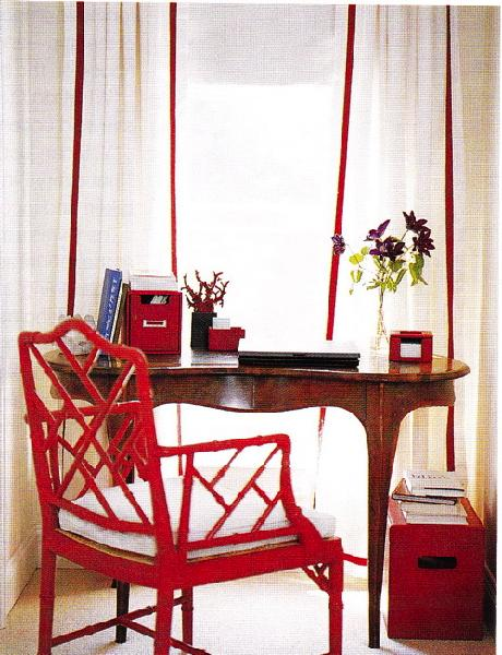 Red Bamboo Chair Transitional Den Library Office