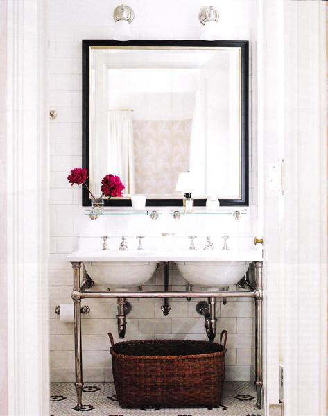Double washstand transitional bathroom Double sink washstand