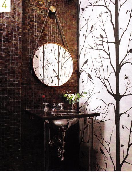 Powder Room Wallpaper Transitional Bathroom