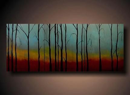 Black tree art on rainbow background