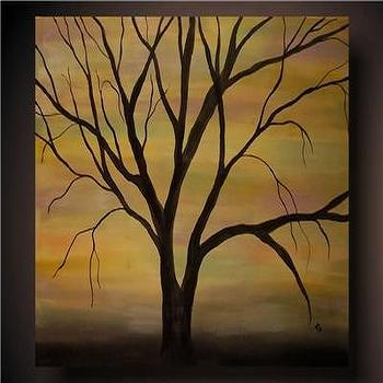 Black Tree With Red Background Art