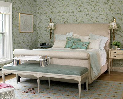 seafoam green blue   green french country bedroom design with blue  wallpaper in a French country bedroom  Tufted upholstered sleigh bed with  gorgeous blue. French Sleigh Bed Design Ideas
