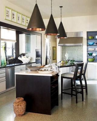 Cone Shaped Pendants Contemporary Kitchen