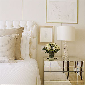 White silk headboard transitional bedroom for Cream and gold bedroom designs