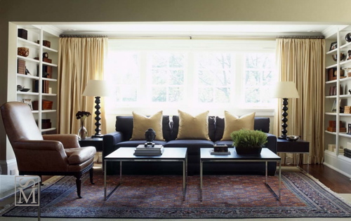 Love The Blue Yellow Color Combo Sofa And Silk Pillows Drapes Lovely Built In Shelves Cabinets Brown Black Living Room