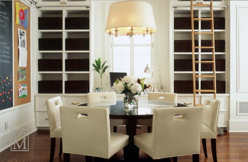 Large White Drum Pendant Lighting With Gold Brass Accents Over A Round Dining Table And Modern Chairs Sweet Built Ins Cabinets Shelves