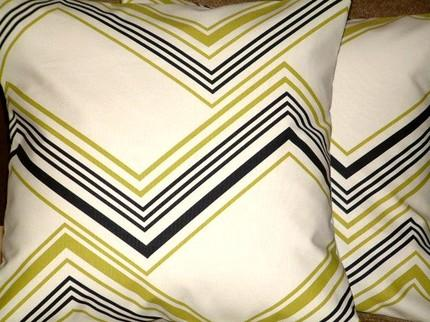 Etsy :: MARIESCOSYCUSHIONS :: 2 New 16 inch Green,Black,Cream Design Funky designer retro Pillow Cases / Cushion Covers/ Pillow Covers-