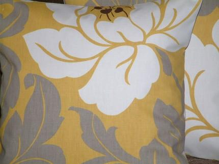 Yellow and grey flower pillow cover mightylinksfo
