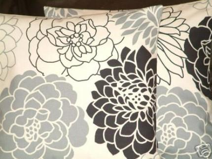 Black And Grey Flower Pillow