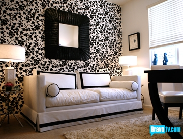 Ondine's room from Top Design black & white contemporary office design with  black & white flower wallpaper, lovely white sofa with black border piping  and ...