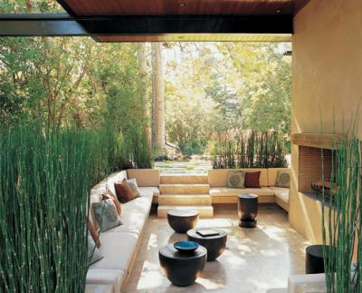 Zen Outdoor Patio Garden With Fireplace!