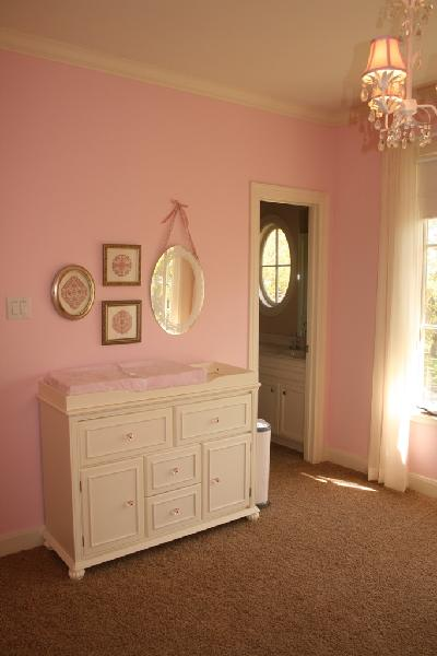 Pink Wall Paint Transitional Nursery Sherwin