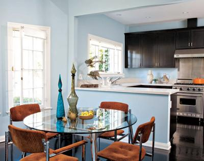 blue kitchen walls with brown cabinets tufted dining chair contemporary dining room 9313