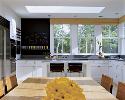 Kid Friendly Kitchen With Chalkboard Walls Love Sky Lights In Kitchens As Well White Cabinets And Bamboo Roman Shades Black