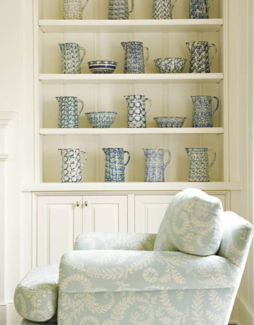 Lovely Built Ins: Shelves And Cabinets With Blue Pottery! Patterned Blue  Upholstered Chair Matches So Well! Blue Cream Living Room Colors.