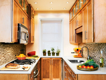 Orange Brown Kitchen Love The Glass Tiles And Maple Cabinets In Small Galley