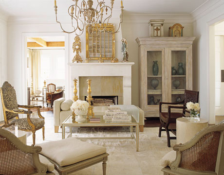 French Country Living Space! Cream Settee, Stone Fireplace, White Washed  Armoire And Elegant Chandelier! White Cream Ivory Gold Living Room Colors! Part 23