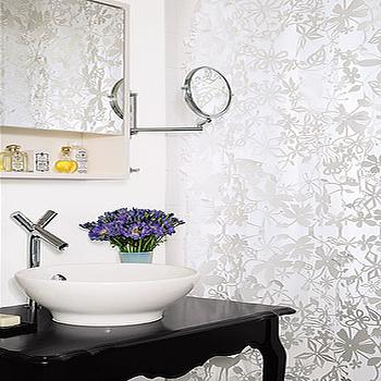 Silver Metallic Wallpaper, Contemporary, bathroom