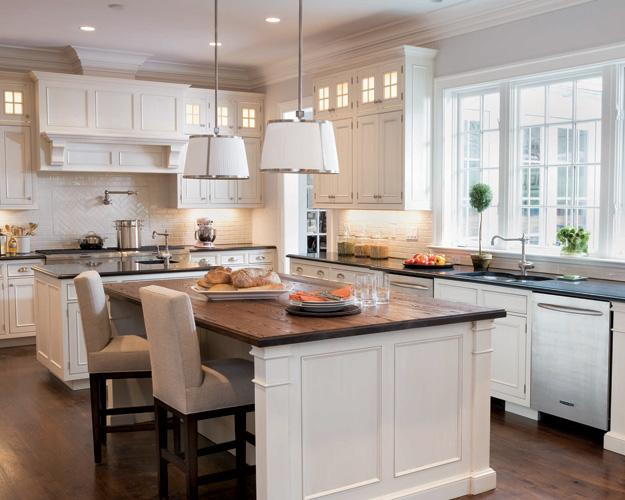Skye Kirby   Another Amazing Kitchen! Love The White Pendant Lighting With  Silver Chrome Trim, White Kitchen Cabinets, Black Granite And Butcher Block  ...