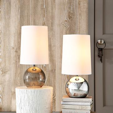Ombre silver table lamp silver sphere table lamp westelm aloadofball Image collections