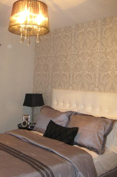 Wallpaper accent wall design ideas for Dark grey bedroom wallpaper